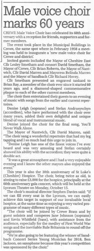 Press release Reception Crewe Chronicle